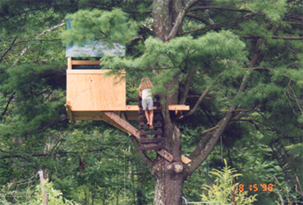 Cassie in tree house 2