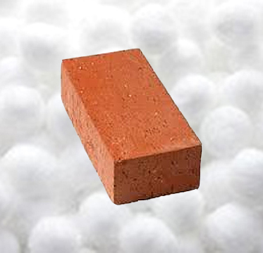 brick and cotton balls